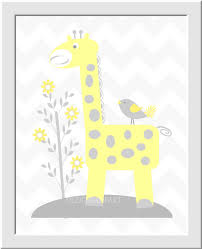 baby nursery wall art gray yellow grey safari jungle animals