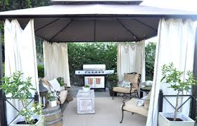 exterior outdoor patio shade with white curtain and antique