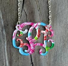 acrylic monogram necklace circle block floral acrylic monogram necklace carolina clover