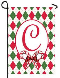 monogram christmas argyle christmas letter c monogram garden flag for sale