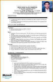 exle of resume for sle resume for ojt students best resume collection