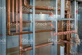Plumbing Rough by Copper Plumbing Roughin With Steel Stud Construction Stock Photo