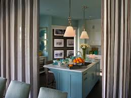 kitchen divider ideas stripped curtains kitchen space divider with blue cabinet on the