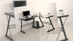 Glass L Shaped Desk Walker Edison Soreno L Shaped Computer Desk Glass Youtube