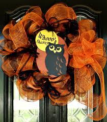 Etsy Halloween Wreath by Halloween Wreath Sale Halloween Owl Mesh Wreath Orange And Black