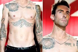 adam levine chest sun and leter tattoomagz