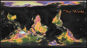 Topographic Map Of The World by Colorful Upside Down Map Of World Topographic Style
