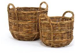 Picnic Basket Set For 2 Cottage Rattan Bushel Baskets Set Of 2 Farmhouse Baskets By