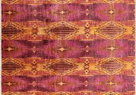 Modern Wool Rugs New Knotted Geometric Orange Pink Modern Ikat 9x12