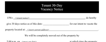 notice 30 day home
