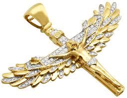 crucifix jewelry 10k yellow gold real genuine diamond jesus angel wings crucifix