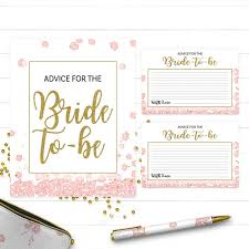 Advice Cards For Bride Pink And Gold Advice For The Bride Card And Sign Golden Glitter