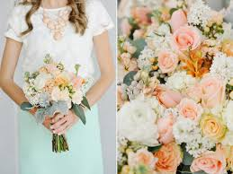 peach white mint green wedding flowers at the provo library utah