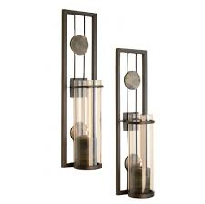 Candle Sconce Contemporary Metal Candle Sconce Set 2 Pc Home Decorative Wall
