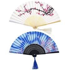 held folding fans held bamboo folding fans tassel hollowed women girl