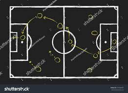 space plan game soccer game strategy chalk hand drawing stock vector 674956087