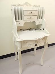 Compact Secretary Desk Antique White French Tall Compact Ladies Bureau Writing Desk Study