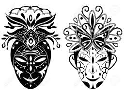 decorative masks two graphic black and white decorative masks royalty free cliparts