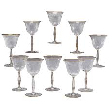 12 handblown crystal mousseline goblets wines with intaglio cut