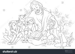 jesus reading bible children coloring page stock vector 658997572