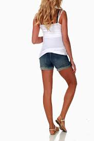 maternity shorts blue distressed jean maternity shorts