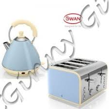 Blue 4 Slice Toaster Swan Blue Retro Pyramid Kettle U0026 4 Slice Toaster Kitchen Appliance