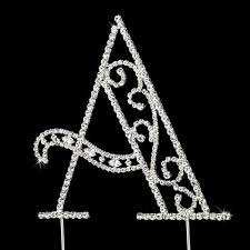 swarovski crystal wedding cake topper letter a