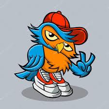 owl cartoon in hip hop hat vector illustration u2014 stock vector