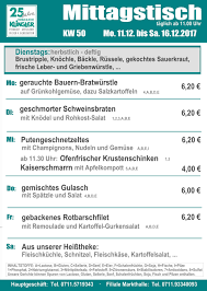 Esszimmer Feinkost Wochenplan Feinschmecker Metzgerei Klingler Feinkost