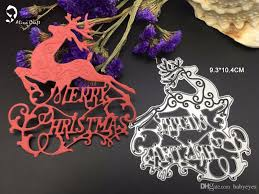 new merry christmas letters reindeer cutting dies stencil for