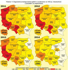 Crime Maps Criminal Poland Crimes Per 100 000 Inhabitants Between 2011 2014