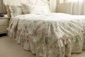 Cotton Bedding Sets Rustic Rural Vintage Blue Ruffle Cotton Bedding Sets Luxury