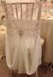 allyson beaded lace and chiffon chair cover w brooch chair