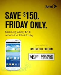 sprint black friday ad reveals 50 galaxy s iii on november 23rd only