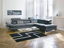 vente de canape canapé d angle fixe droit en cuir leman coloris gris vente de