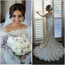 long sleeve wedding dresses 2016 mermaid lace pearls beaded bateau