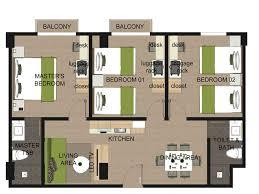 Bedroom Floor Plans Wonderful 3 Bedroom Floor Plans De Apartamentos 2 Quartos Simshome