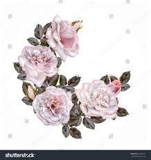 garland pale pink pastel roses circle stock illustration 459349447