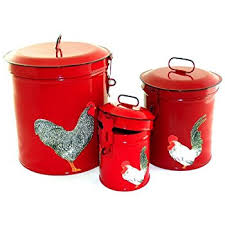 amazon com seed bag red rooster food safe tin canister set