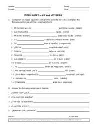er and ir verbs 6th 8th grade worksheet lesson planet