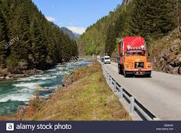 volvo truck pictures free volvo truck on narrow mountain road 13 through river valley near
