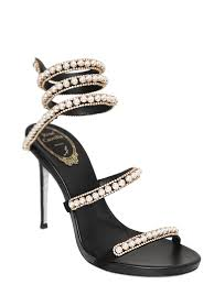 swarovski sede renè caovilla 105mm snake swarovski suede sandals black
