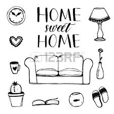 set of hand drawn home interior doodles couch lamp clock