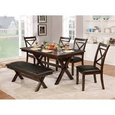 dark cherry transitional 6 piece dining set with bench westerly