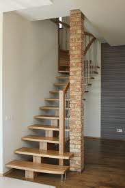 trendy oak woden steps as simple modern stairs also brick interior
