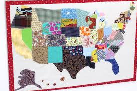 United States Map Wall Art by Scrap Map Wall Hanging United States Quilt The Sweatshop Of Love
