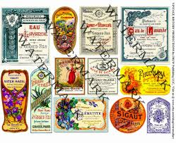 apothecary home decor vintage cologne labels french clip art elegant perfume collage