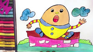 humpty dumpty coloring drawing for children learn to draw humpty
