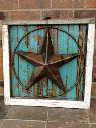 salvaged antique window frame with texas star u0026 old wood decor