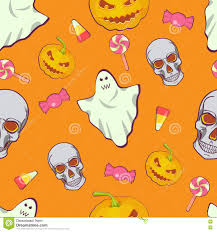 halloween seamless bright kids cartoon pattern skull ghost